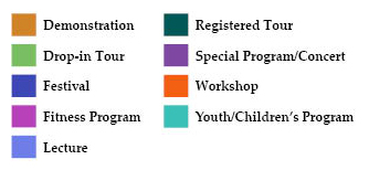 Program types are color coded, in addition to each program title listing the type of program