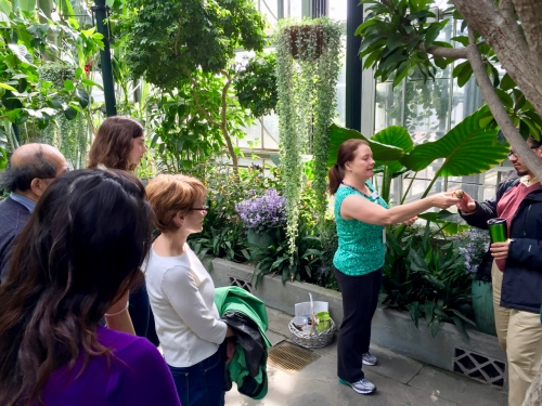 A female volunteer docent leads a group of give adults on a tour of the Conservatory
