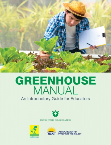 man reviews plants in a greenhouse on cover of greenhouse manual